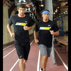 Michael Phelps and Apollo Ohno. Two of my favorite Olympians training together. That's how it's done!