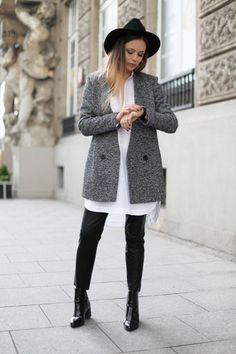 Grey Coat, Ankle Boots and A Hat
