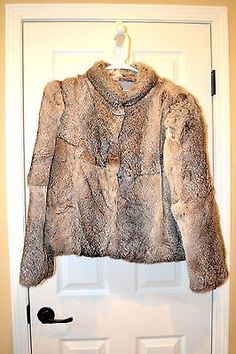 Gray Rabbit Fur Jacket Vintage 1980's Size Medium  Good pre-owned condition! The only thing wrong we could find was some spots on the inside lining. This beau