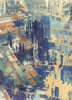 The digital illustration series entitled Cities IV / Deconstructed was created in 2011 by the Austrian design and photography team Atelier Olschinsky Illustration Sketches, Digital Illustration, Oui Oui, Deconstruction, Art Plastique, Oeuvre D'art, Architecture, Urban Art, Sculpture