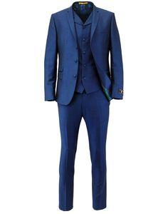 Madcap England Retro Mod 3 Button Blue Mohair Suit
