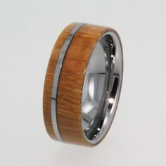 Mens Tungsten Wedding Band Wood Ring with Flat by jewelrybyjohan, $453.00