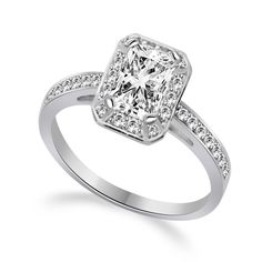 1.70 Ct Emerald Cut Halo Engagement Wedding Promise Ring Solid 14K White Gold #Affiniythomeshopping #SolitairewithAccents