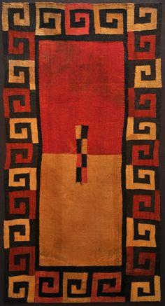 Peru | GREEK KEY CUSHMA Nasca Culture - South Coast of Peru 200 - 600 AD Camelid Wool Yarns and Natural Dyes 86 x 46 in.  Quise agregar esta foto de arte de lana porque creo que es importante recordar que la arte moderna proveníe de gente del pasado, como los nativos americanos que hicieron esto.