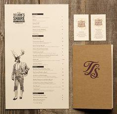 The Lion's Share menu design by Dylan Jones. (via Art of the Menu) Logo Restaurant, Restaurant Menu Design, Hotel Logo, Rustic Restaurant, Layout Design, Graphisches Design, Speisenkarten Designs, Menu Bar, Typography Design