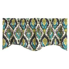 Majolica Greens and Blues Print Lined Wave Edge 58 Inch Window Valance Split P