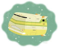 John Martz Illustrates 'The Hitchhiker's Guide to the Galaxy' and Pixelates the Star Trek Universe [Art] The Hitchhiker, Hitchhikers Guide, Star Trek Universe, Universe Art, Van Design, Guide To The Galaxy, Camper Van, Travel Posters, Design Inspiration