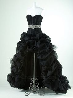 Gorgeous Black with high low prom dress#dresses