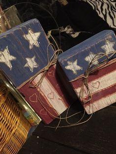 American Flag Wooden Blocks Rustic Country Handmade   | eBay