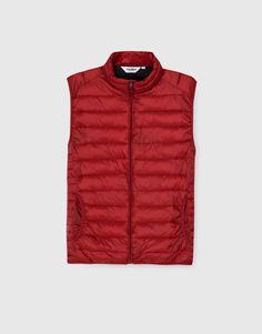 Pull&Bear - homem - vestuário - blusões e blazers - colete acolchoado nylon - vermelho - 09774701-I2016