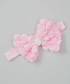 Look what I found on #zulily! Light Pink Rosette Bow Headband by Miss Fancy Pants #zulilyfinds