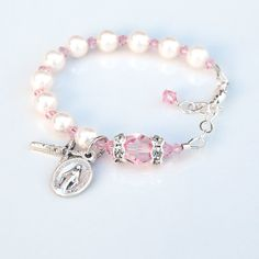 Baby Girl Light Pink Rosary Baptism Bracelet - Personalized Custom Initial - Swarovski Crystal and White Pearls - Catholic Christening Gift by RosariesOfLove on Etsy