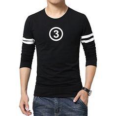 Camiseta De los hombres Casual / Trabajo / Deporte / Tallas Grandes Estampado…