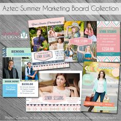 SALE INSTANT DOWNLOAD - Aztec Summer Marketing Board Collection- Set of 5 custom 5x7 photo templates by fototaledesigns on Etsy Graduation Templates, Print Release, Graduation Announcements, Mini Sessions, Senior Girls, Photo Displays, Card Templates, Aztec, Digital Marketing