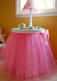 Tables for the girls room - did this to little e's dressing table stool. Very cute.