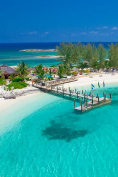Secluded beach on the offshore island which can be reached by boat from Sandals Royal Bahamian