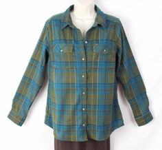 LL Bean Green Plaid Blouse M size Poly Flannel Womens Casual Outdoor Shirt…