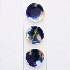 Glacier Navy Blue 14k Gold Peach Porcelain by redravenstudios