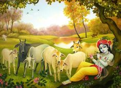 Krishna flute cows