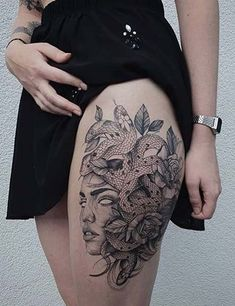 leg tattoos 23 Best Mythological Greek God Tattoos And The Meanings Behind Them Line Tattoos, Sexy Tattoos, Body Art Tattoos, Tattoos For Guys, Henna Tattoos, Future Tattoos, Tattos, Hip Thigh Tattoos, Sleeve Tattoos For Women