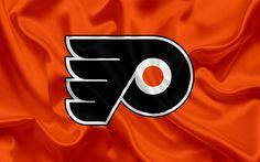Download wallpapers Philadelphia Flyers, hockey club, NHL, emblem, logo, National Hockey League, hockey, Philadelphia, Pennsylvania, USA, Eastern Conference