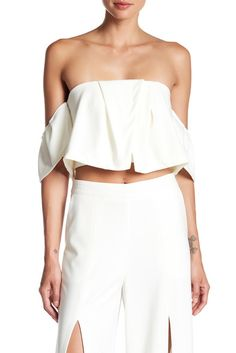 Image of Do + Be Off-the-Shoulder Crop Blouse