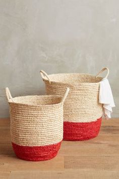 Anthropologie Dipped Sisal Baskets