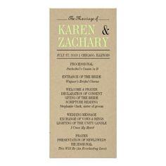Wedding Program Custom Rack Card
