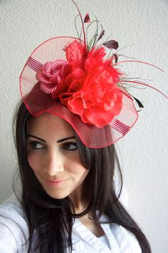 Red Fascinator Hat  English Rose Couture Hat by EyeHeartMe ...