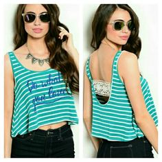 Do What You Love Stripe Crop Do What You Love Stripe Crop. Teal & White Striped w/ Blue lettering. Lace band across scoop back.    No Trade or PP  Offers Considered  Bundle discounts Tops Tank Tops