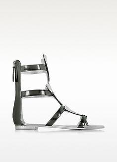 GIUSEPPE ZANOTTI Anthracite Metallic Leather Sandal. #giuseppezanotti #shoes #sandals
