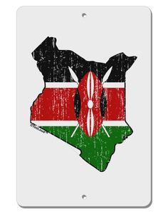 "Kenya Flag Silhouette Distressed Aluminum 8 x 12"" Sign"