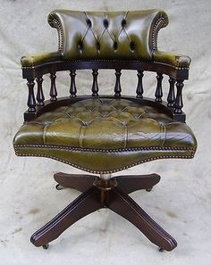 leather antique wood office chair leather antique. Antique Style Green Leather Mahogany Swivel Office Desk Chair Captains Wood