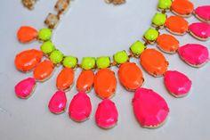 neon rhinestone necklace Brightest Pink Orange Yellow Neon
