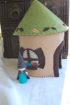 Felt play treehouse and gnome from Feathered Nest Studio