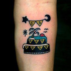 by, @kimsany #birthday #cake #hybridink #tattoo #art #illustration #studio #seoul #korea
