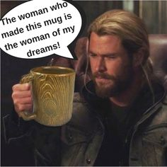 Right back at ya, Chris!  celebrity mugshot monday, mug, mugshot, celebrity meme, mugshot monday, coffee, coffee all day, fantasy, i love chris hemsworth, sexy, long hair,  pottery, handcrafted, handmade,  sad photoshop skills, cut and paste, fan art, don't take yourself too seriously!