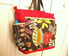 Large handmade tote. Travel market baby school. Red by GladRaggz