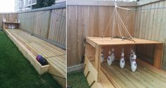 """Bowling fans, what could be better than having your own backyard bowling alley? Answer: not a whole lot. The fellow (with the appropriate Imgur nickname """"Makgyver87"""") who created this says that his local bowling alley closed down, sooooooo… rather than wait for someone else to open one, he made his"""