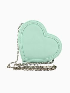 Heart Blue-Green Patent Bag With Chain Strap