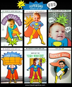 Superdad Father's Day Printable Cards for the Super Hero Dad in your life. This and more DIY Fathers Day Ideas