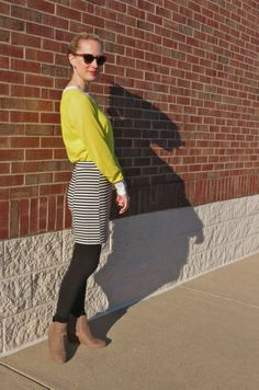 yellow sweater, black and white striped skirt = Beetlejuice!