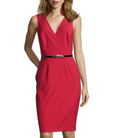 Hayden Red Ponte Wrap Front Belted Sheath Dress