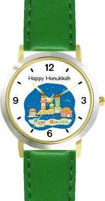 Happy Hanukkah - Jerusalem Judaica Jewish Theme - WATCHBUDDY® DELUXE TWO-TONE THEME WATCH - Arabic Numbers - Green Leather Strap-Children's Size-Small ( Boy's Size & Girl's Size ) WatchBuddy. $49.95. Save 38% Off!