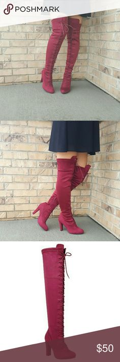 Womens Wine Knee High Boots BRAND NEW WITH BOX.   Omg seriously how can you even resist these stunning, sexy high heel boots!   Color: wine  Suede Fabric (Man Made)  Heel height: 4 inches  Shaft: 22 inches  Circumference approximately 17 inches.  These do stretch.  Side zipper.  Runs true to size.   SHIPS NEXT BUSINESS DAY!  More sizes in stock.   Sizes currently in stock as of 1/28 6, 6.5, 7, 7.5, 8, 8.5, 9, 10 Shoes Over the Knee Boots
