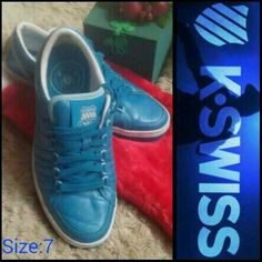 ♋♋ ⏳⏩K-SWISS Retro Teal Rare Shoes Size: 7⌛⏪ ✨Old School, K-SWISS (Teal, Blue) Shoes In Excellent Preowned Condition! Size:7. $23 Total on Mercari App