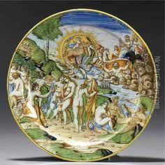 A Large Italian Maiolica Istoriato Plate Depicting The Judgement Of Paris Oil Painting - Domenico Da Venezia