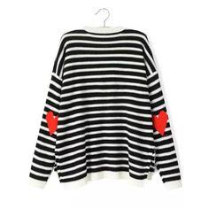 Pullover Langarm mit Streifen-schwarz und wei?