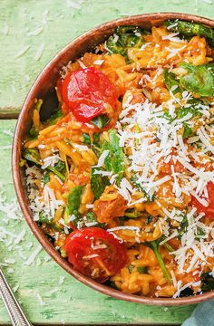 "Cheesy pasta with chorizo and spinach | Try HelloFresh today with code ""HelloPinterest"" and receive $25 off your first box."