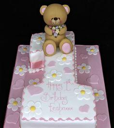 1st Birthday Number One Cake Teady Bear Model